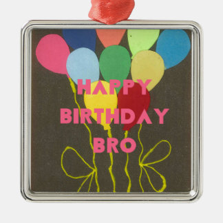 Feliz cumpleaños Bro Adorno Cuadrado Plateado