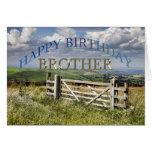 Feliz cumpleaños Brother, paisaje con una puerta Tarjeta