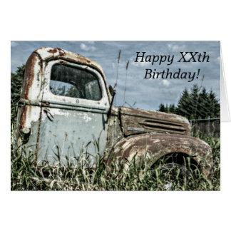 Feliz cumpleaños - camión antiguo viejo del batido tarjetas
