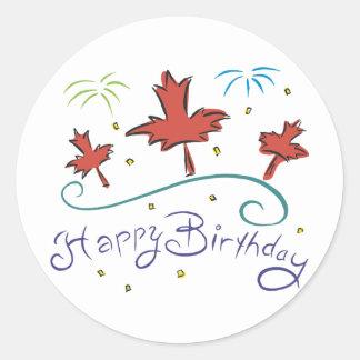 Feliz cumpleaños Canadá Pegatina Redonda