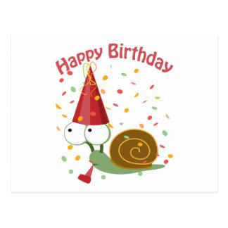 ¡Feliz cumpleaños! Caracol del confeti Postal