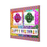 FELIZ cumpleaños:  Caras sonrientes Lona Envuelta Para Galerias