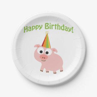 ¡Feliz cumpleaños! Cerdo lindo Platos De Papel