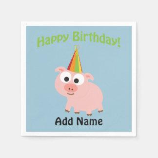 ¡Feliz cumpleaños! Cerdo lindo Servilletas Desechables