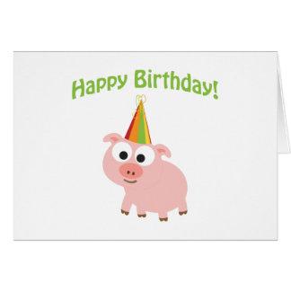 ¡Feliz cumpleaños! Cerdo lindo Tarjeta Pequeña