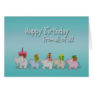 Feliz cumpleaños chistoso todos nosotros, de grupo tarjeta de felicitación
