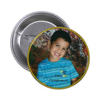 Feliz Cumpleanos Circle Photo Template Pinback Button