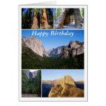 Feliz cumpleaños, collage del parque nacional de tarjeta de felicitación