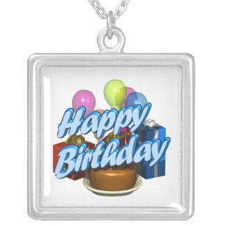 Feliz cumpleaños collar plateado