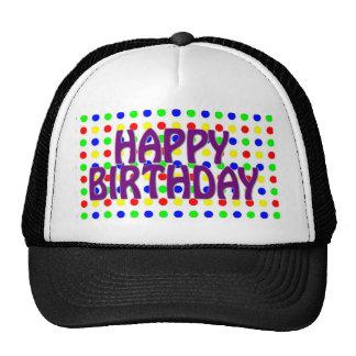 Feliz cumpleaños coloreado de los lunares gorra