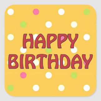 Feliz cumpleaños coloreado multi de los lunares pegatina cuadrada