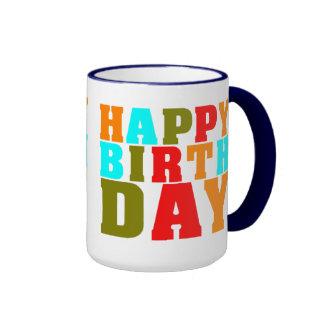 Feliz cumpleaños colorido de 4 colores taza de dos colores