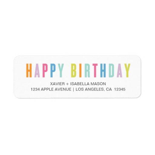 Feliz cumpleaños colorido etiqueta de remite