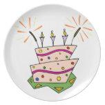 Feliz cumpleaños colorido plato