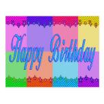 Feliz cumpleaños colorido postal