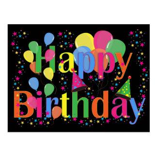 Feliz cumpleaños colorido y globos postal