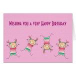 Feliz cumpleaños con el chica que hace handstand tarjeta de felicitación