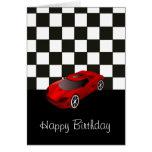 Feliz cumpleaños con el coche de competición rojo felicitacion