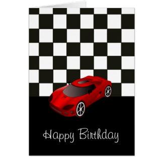 Feliz cumpleaños con el coche de competición rojo tarjeta de felicitación