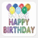 Feliz cumpleaños con el globo calcomanía cuadradase