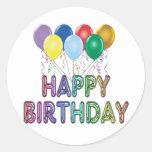 Feliz cumpleaños con el globo pegatinas redondas