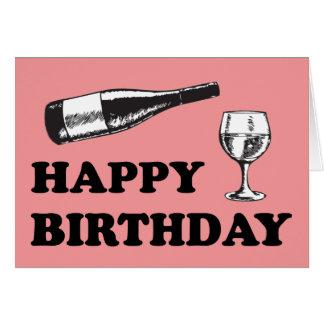 Feliz cumpleaños con el vino tarjeta de felicitación