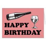 Feliz cumpleaños con el vino tarjeton