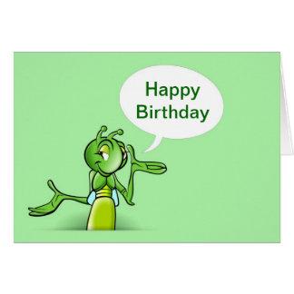 Feliz cumpleaños con hablar del grillo tarjeta de felicitación