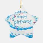 Feliz cumpleaños con helar azul ornamentos de navidad