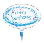 Feliz cumpleaños con helar azul palillos de tarta