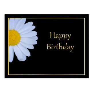Feliz cumpleaños con la flor blanca y Bkgrd negro Postales