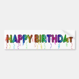 Feliz cumpleaños con la pegatina para el parachoqu pegatina para auto