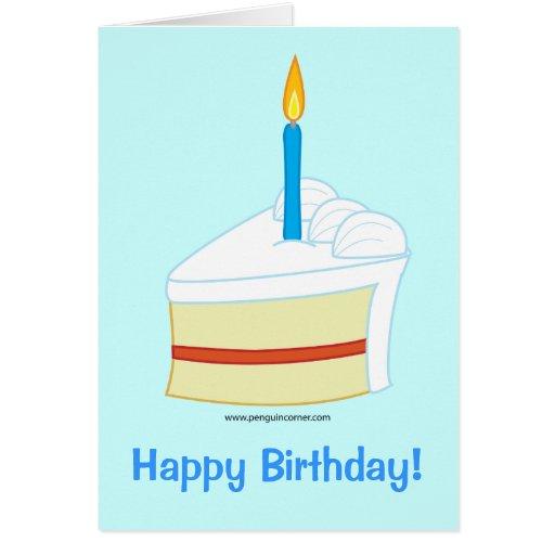 Feliz cumpleaños con la rebanada de torta de cumpl tarjeton