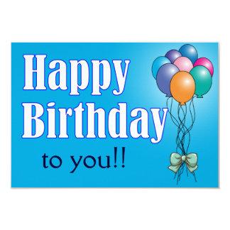 """Feliz cumpleaños con la tarjeta plana de los invitación 3.5"""" x 5"""""""
