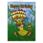 Feliz cumpleaños con la torta de la tenencia del m felicitacion