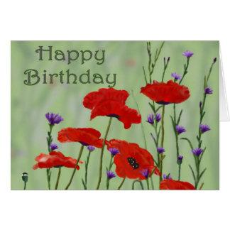 Feliz cumpleaños con las amapolas tarjeta de felicitación