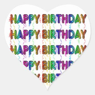 Feliz cumpleaños con las flámulas del fiesta pegatina corazón personalizadas