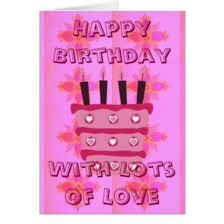 Feliz cumpleaños con las porciones de amor tarjeta de felicitación