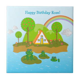 Feliz cumpleaños con las ranas azulejo cuadrado pequeño