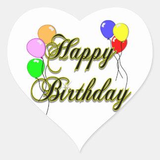 Feliz cumpleaños con los globos 2 pegatina en forma de corazón