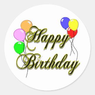 Feliz cumpleaños con los globos 2 pegatina redonda