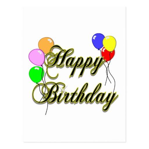 Feliz cumpleaños con los globos 2 postal