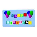 Feliz cumpleaños con los globos etiquetas de envío