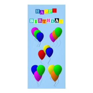 """Feliz cumpleaños con los globos folleto publicitario 4"""" x 9"""""""