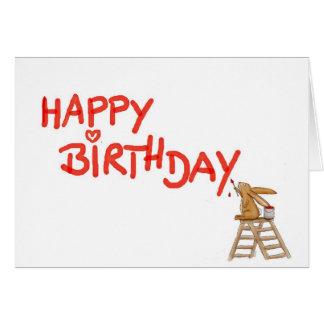 Feliz cumpleaños - conejo en escalera tarjeta de felicitación