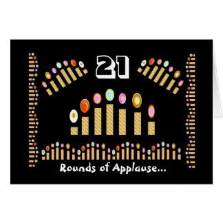 ¡Feliz cumpleaños de 21 aplausos! Velas del oro Tarjeton