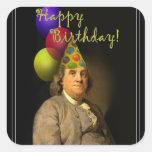 Feliz cumpleaños de Ben Franklin Colcomanias Cuadradass