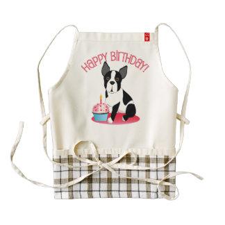 Feliz cumpleaños de Boston Terrier con el delantal