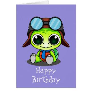 Feliz cumpleaños de Chibi de la tortuga linda del Tarjeta De Felicitación