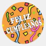 Feliz cumpleaños de Feliz Cumpleanos en español Pegatina Redonda